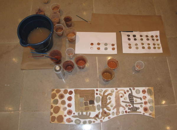 mud palette and animal sketches