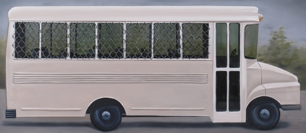 <em>Prison Bus</em>Oil on canvas, 24 x 55""