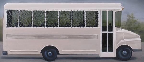 "<em>Prison Bus</em>Oil on canvas, 24 x 55"""