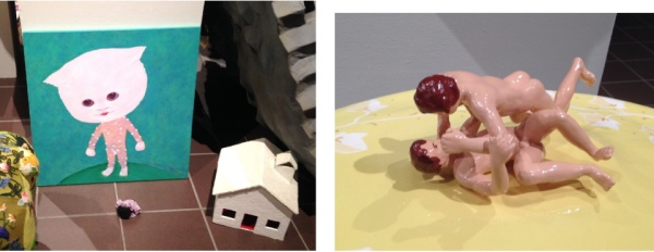 The Gift of Scars (cat painting), 1996, (left) and Soup (detail), 2002. Papier mache, wood, wire, paper