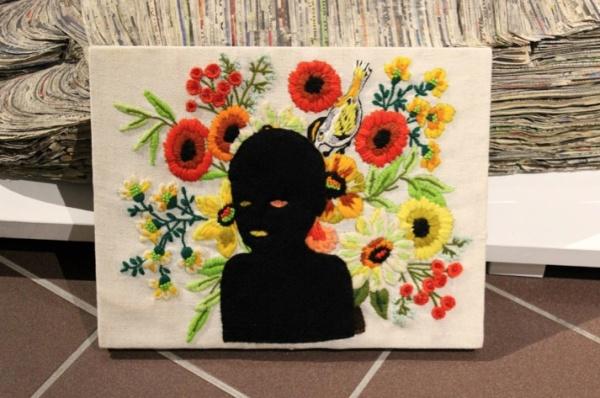Secret Garden, 2004, felt applique on found crewel embroidery