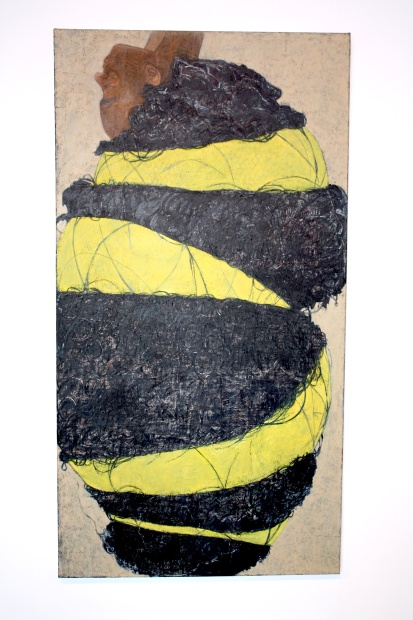 Mequitta Ahuja, Yellow I, 2013, Oil and paper on canvas, 68x36 inches