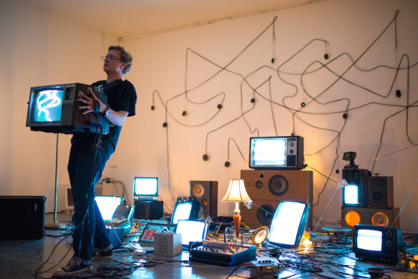 """Performance of """"de/Rastra"""" by Kyle E. Evans at Co-Lab"""