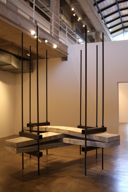 """Jeff Williams, Tension and Compression Table, 2014, Cast concrete, reinforcement bar, polypropylene mesh, steel and hardware, 120 x 120 x 120"""""""