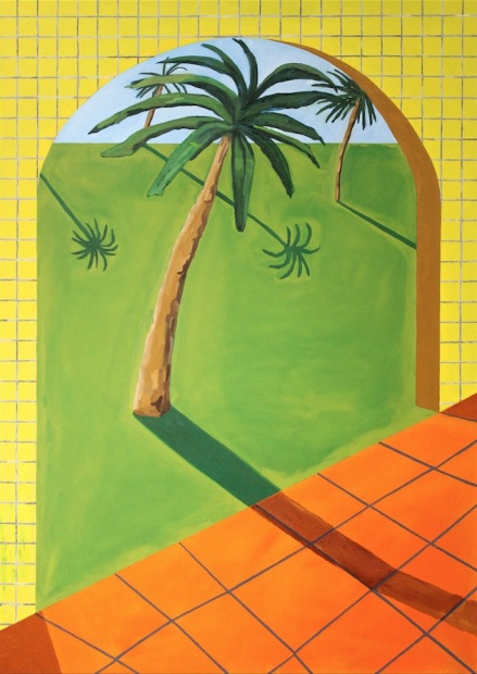Out on the Coastal Plains (Four Palms)_Oil, collage on canvas_84_ x 60_