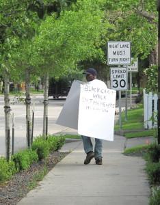 black man walking