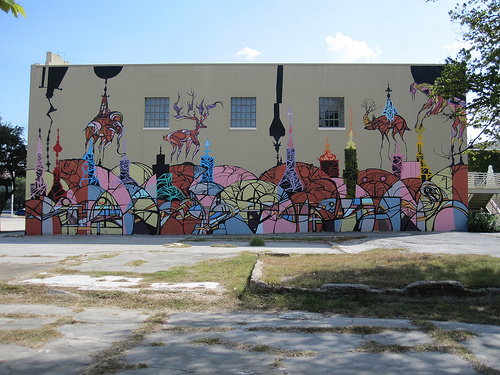 """West instigated the ongoing mural project on Lawndale's north wall. Pictured is Daniel Anguilu's """"Famous Monsters"""" from 2011."""