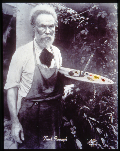 Undated portrait of Frank Reaugh with palette. Unknown photographer. Image courtesy of the Harry Ransom Center