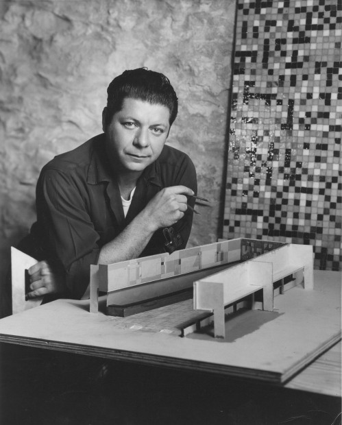 Seymour Fogel with American National Bank, Austin, TX mural model, 1954