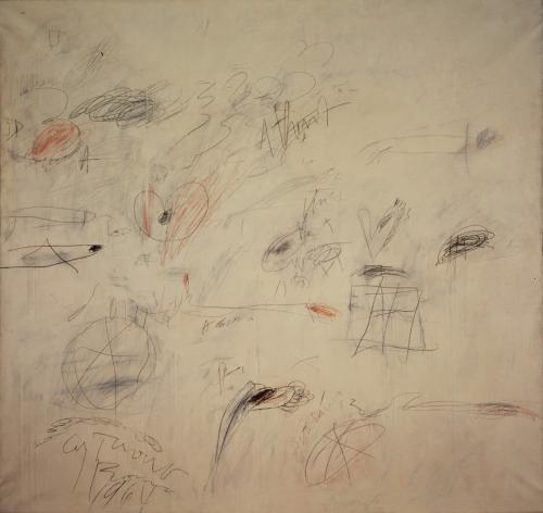 Cy Twombly, Ilium (One Morning Ten Years Later) [Part I] 1964 oil paint, lead pencil and wax crayon on canvas 78 3/4 x 82 3/4 in.