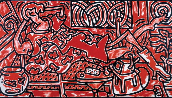 Keith Haring, Red Room, 1988. acrylic on canvas. 96 x 180 inches.