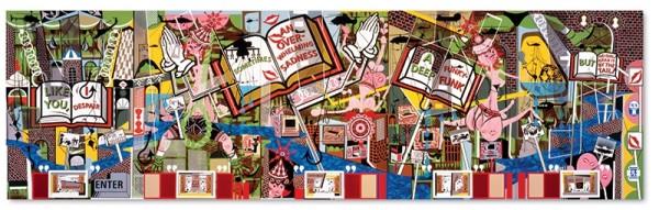 Lari Pittman, Like You, 1995. oil and enamel on five mahogany panels. 96 x 320 inches