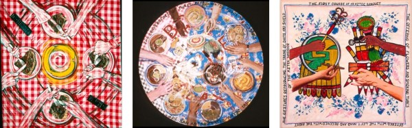Gringo Table, 1993, acrylic on tablecloth, 41 x 44 in. San Antonio Fatso-watso Table, 1995, enamel on oilcloth tablecloth, 53 in. diameter, Collection of Susie and Peter Krulevitch, Pleasanton, California The First Course of an Aztec Banquet, 1998, acrylic on tablecloth, 36 in. x 36 in.