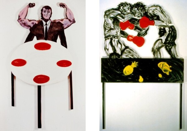 Powerman at the Table, 1982, enamel on wood and masonite, 84 1/2 x 42 1/2 in. Fighting by the Table, 1983, enamel on wood, 96 x 63 in.