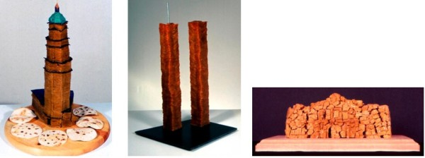 Tower of Life, 1998, corn and flour tortillas, ground chili, oil, 23 x 18 x 18 in; Twin Tortilla Towers, 2002, tortillas, chili, steel, 28 x 16 x 14 in; Masalamo, 2004, masa, 3 x 4 x 6 in.