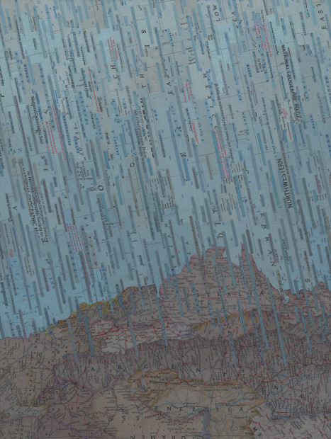 Blue Rain (2014). Inlaid book pages and acrylic on wood panel.