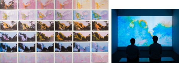 Guadalupe-After Images, 2014 (detail), installation of 187 digital prints of oil paintings, 100 x 204 in; Guadalupe-After Images, 2014, projection installation, single channel animation.