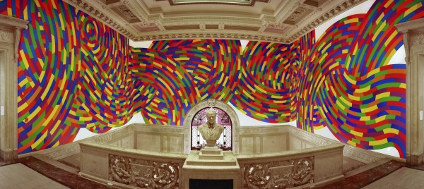 Installation view of Sol LeWitt, Wall Drawing #1131, Whirls and Twirls (Wadsworth), 2004, at the Wadsworth Atheneum. Acrylic on existing museum walls. Photo: 16 Miles