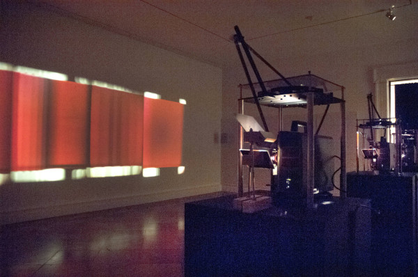From Strange Pilgrims: Paul Sharits, Dream Displacement, 1976. Installation with four 16 mm films, color, sound, projected simultaneously in continuous loop.