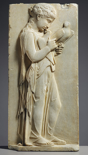 Grave stele of a little girl, ca. 450–440 B.C. Greek, Parian marble; H. 31 1/2 in.