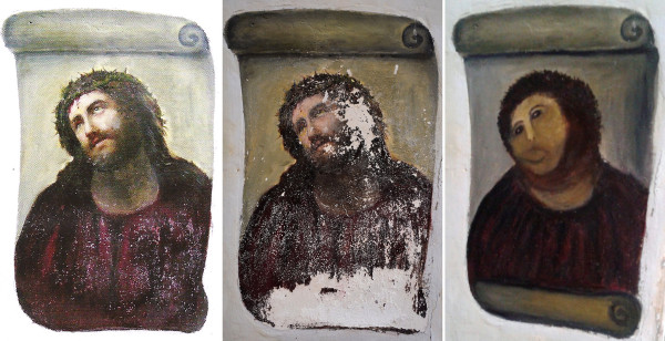"The three versions of the ""ecce homo"" fresco of Jesus. From left, the original version by Elías García Martínez, a 19th-century painter; a deteriorated version of the fresco; the restored version by Cecilia Giménez. Credit Agence France-Presse — Getty Images"