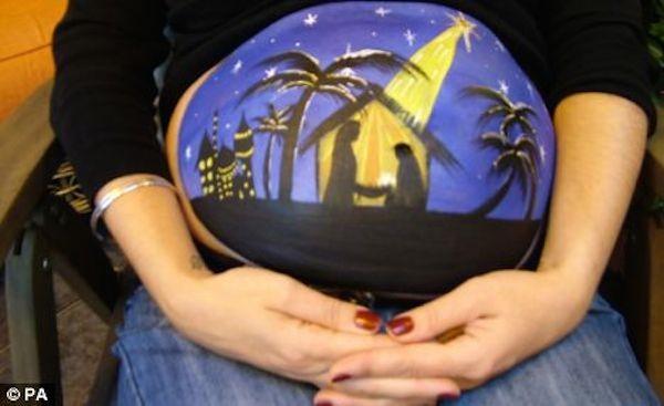 pregnant nativity scene