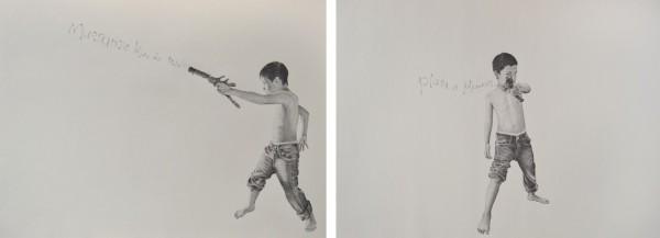 Mueranze Hijos de Puta (Die Sons of Bitches), 2013, graphite on paper, 18 x 24 in; Plata O Plomo (Silver or Lead)?, 2013, graphite on paper, 18 x 24 in.