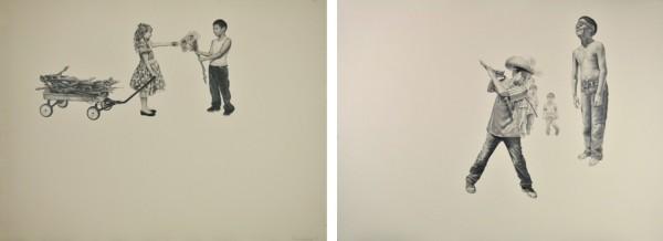 Intercambio (Exchange), 2014, graphite on wheat tone paper, 22 x 30 in. La Piñata, 2014, graphite on wheat tone paper, 22 x 30 in.