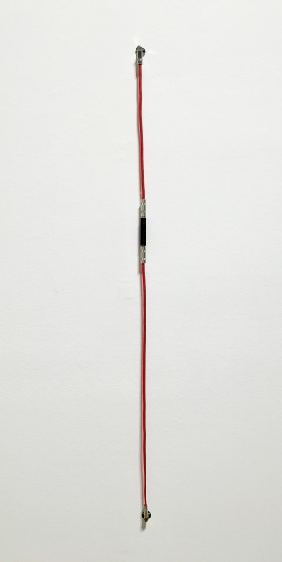 SHHH, The Red Series #1, 2014. Noise-canceling instrument cable, cable ties, and endpin jacks.