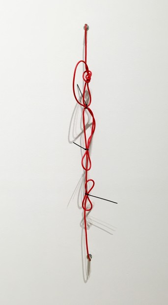 SHHH, The Red Series #2, 2014. Noise-cancelling instrument cable, cable ties, and endpin jacks.