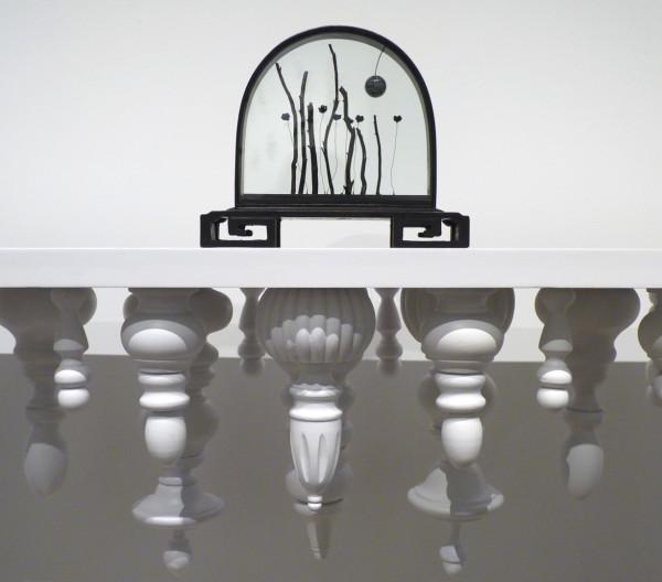 Secret Ceremony, 2015. Wood, metal, glass, snowflake obsidian, coral, music box mechanism.