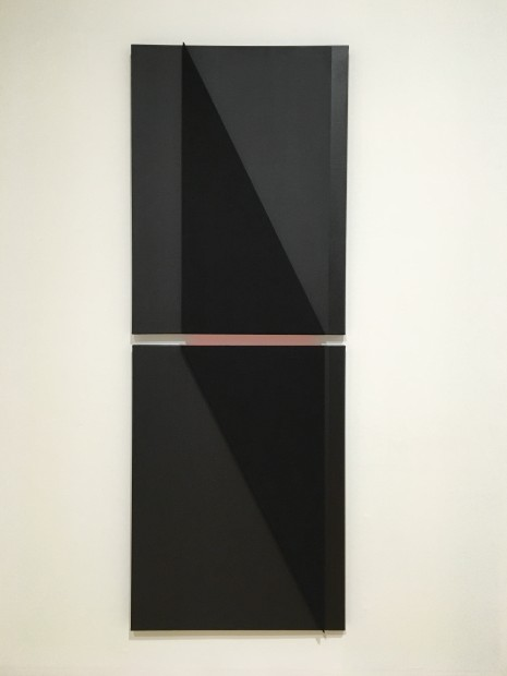 Vertical into Decrescendo (dark), 2014, Acoustic absorber panel and acrylic paint on canvas (2 parts)