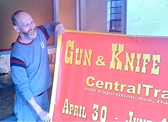 Heyd Fontenot prepping for a group show he curated for Dallas' CentralTrak called the Gun & Knife Show, 2011