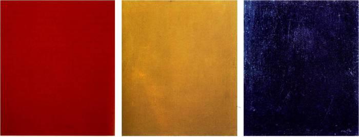 Pure Red Color (Chistyi krasnyi tsvet), Pure Yellow Color (Chistyi zheltyi tsvet), Pure Blue Color (Chistyi sinii tsvet), 1921
