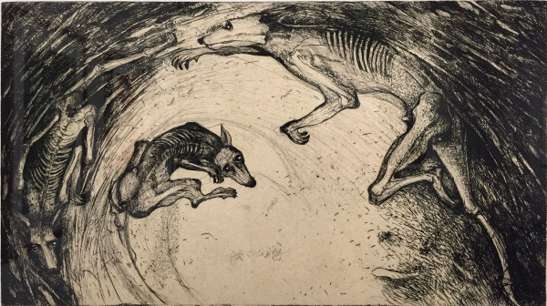Sharon Kopriva, Pursuit (6/12), 2014, chine colle etching
