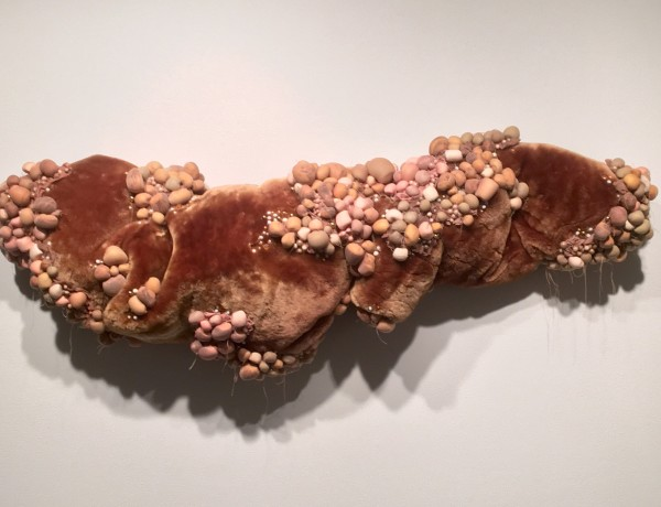 Cintia Gomez, Untitled (Original), 2015, Fur, pantyhose, makeup sponges, beads and Poly-fil.
