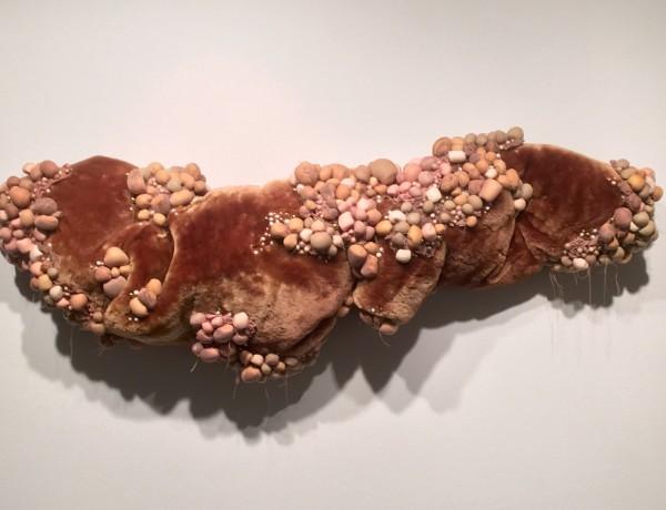 Cintia Gomez, Untitled (Original), 2015, Fur, pantyhose, makeup sponges, beads and Poly-fil.