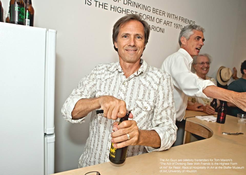 The Art Guys serving beer at the Blaffer Art Museum. Image via artguys.com.
