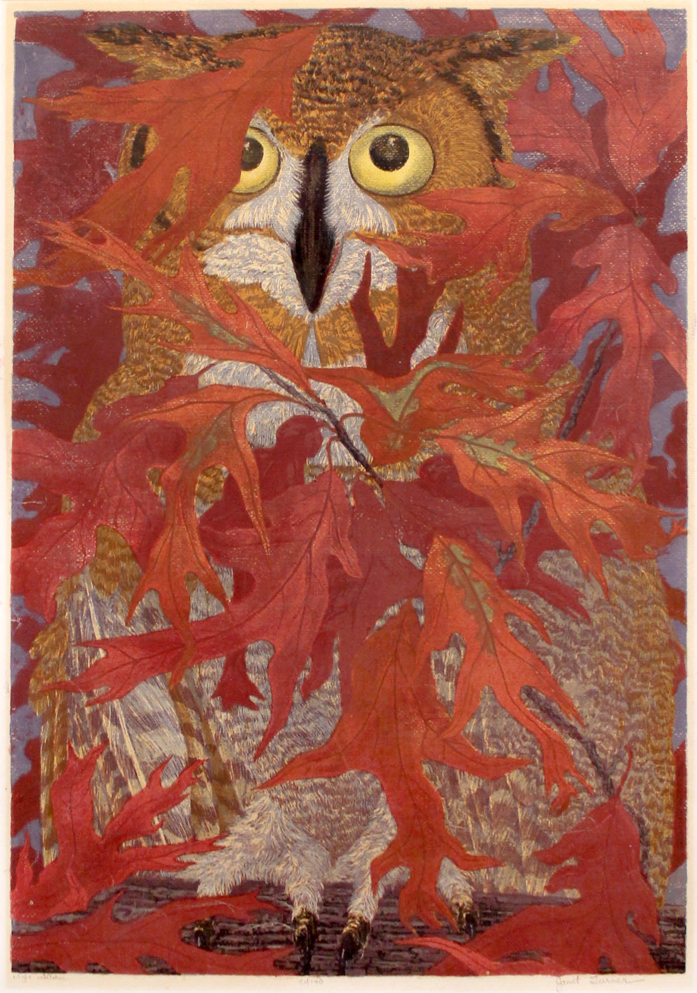 Janet Turner, Night Watcher, 1955.Serigraph.