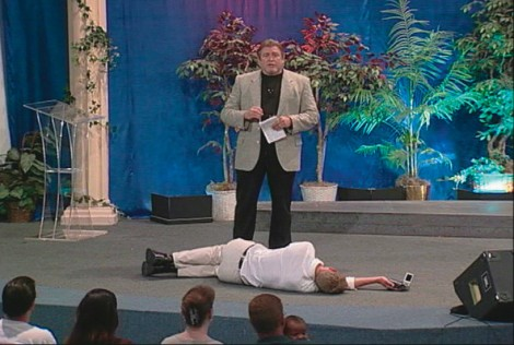 """Christian Jankowski's 2001 video """"The Holy Artwork"""" involved participation of Pastor Peter Spencer of the Harvest Fellowship Church."""