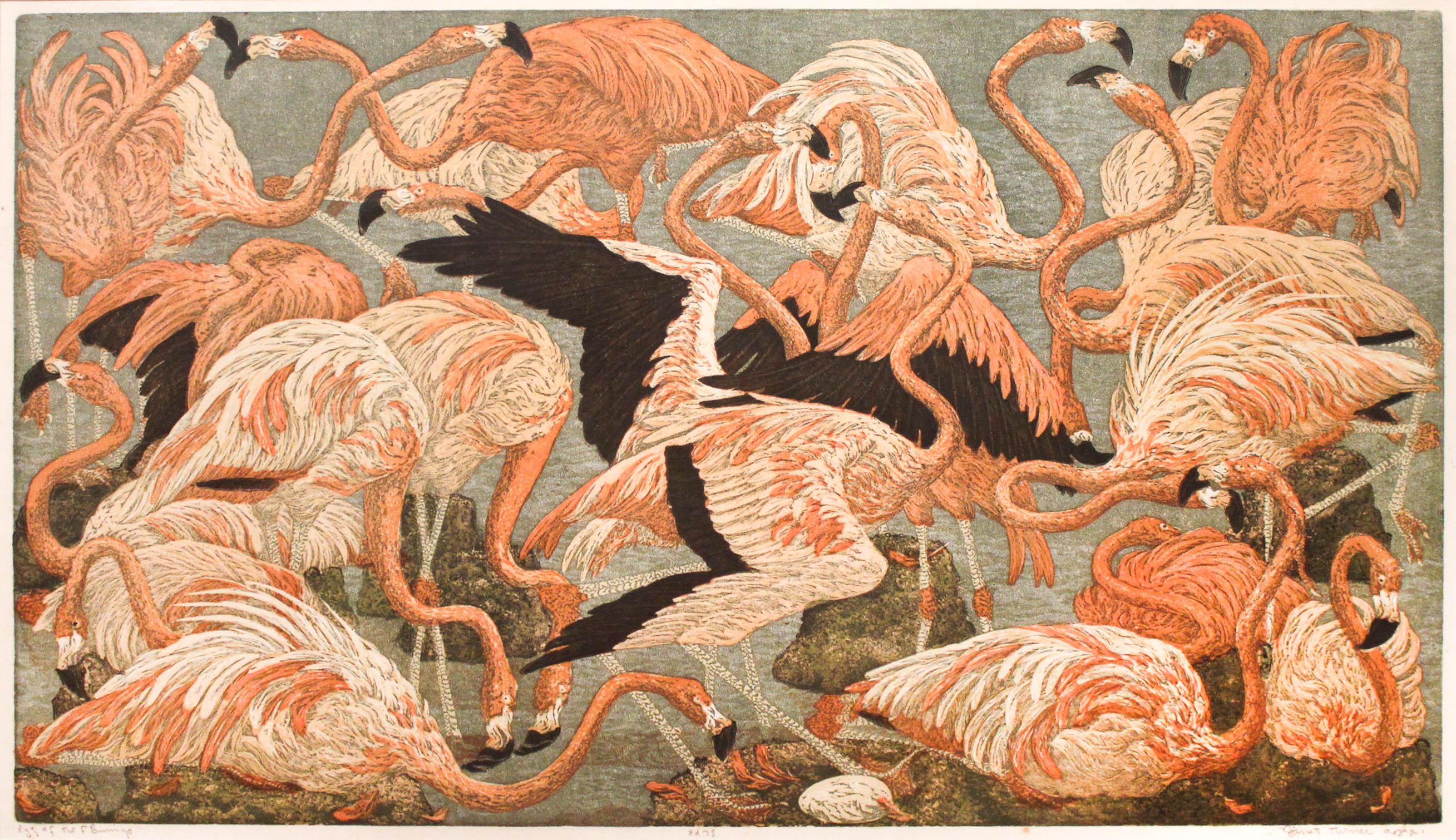 Janet Turner, Egg of the Flamingo, 1953, color linocut