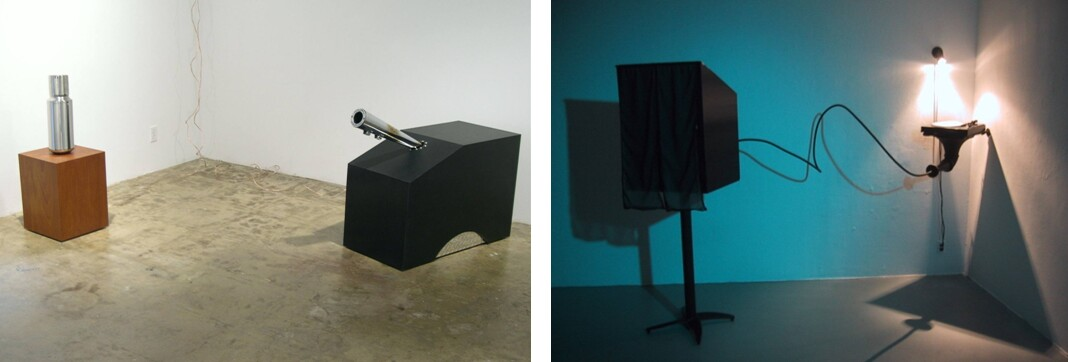 """Left: The Idle Role of an Action Hero, 2003 (Vin, mahogany, stainless steel muffler, 160 watt amplifier, 60 watt 6 1/2 in. loudspeaker. Vocal samples taken from Vin Diesel's character in """"The Fast and the Furious"""" pitch shifted and time stretched till they hummed; Arnold, wood form, metal cladding, stainless steel muffler, black rubber, 160 watt amplifier, 60 watt 6 1/2 in. loudspeaker. Vocal samples taken from A. Schwarzenegger's character in T1 and T2, pitch shifted and time stretched till they purred.) Right: Our Collapsed Star, 2003, turntable, antique phonograph horn, copper tubing, wood, metal cladding, subwoofer, single pressing 10 in. record playing Billie Holliday's """"In My Solitude"""" and """"If My Heart Could Only Talk"""" combined with the sound of the Black Hole at the Center of the Galaxy."""