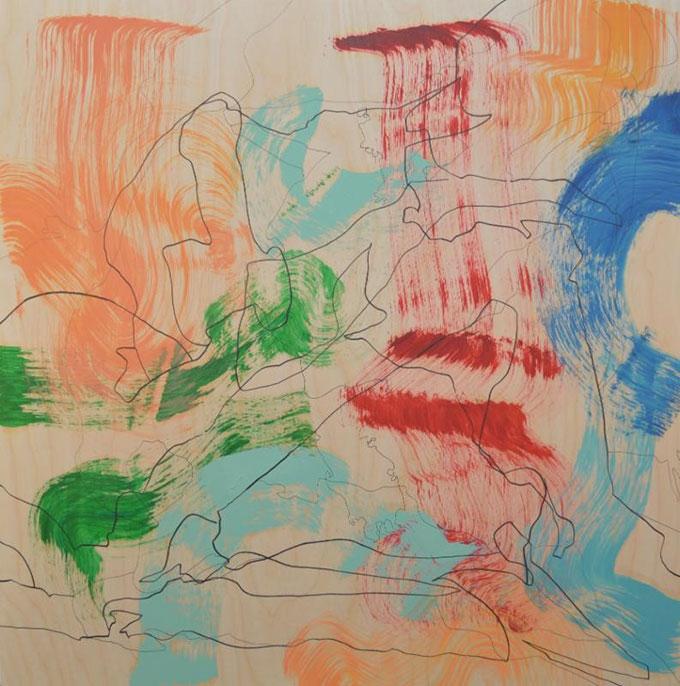 "Brash, 2015, oil and ink on wood panel, 40 x 40"""