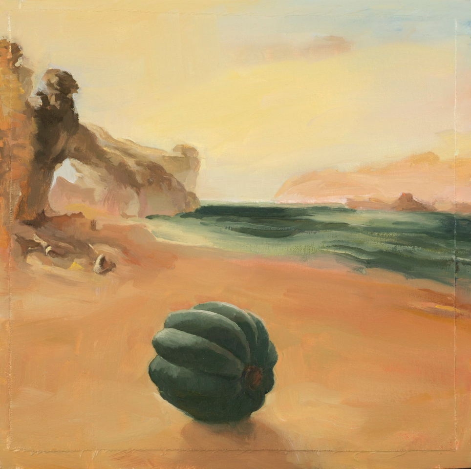 Carol Ivey, Romantic Landscape: Rocky Bay after J.M.W. Turner with Winter Squash, oil on linen panel.