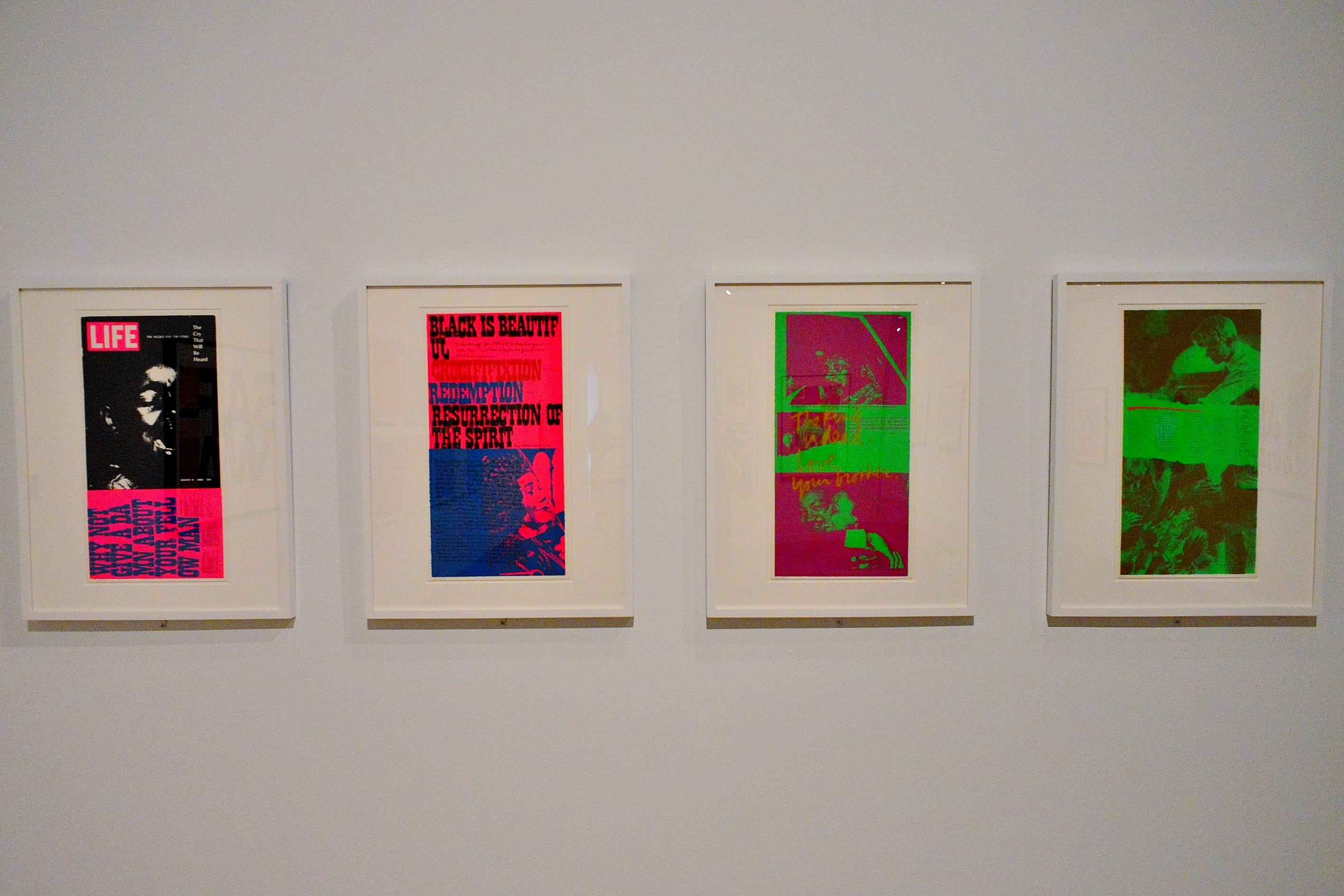 Politically charged works by Corita Kent: (l-r) the cry that will be heard, ifi, love your brother, i'm glad i can feel pain - all created in 1969.