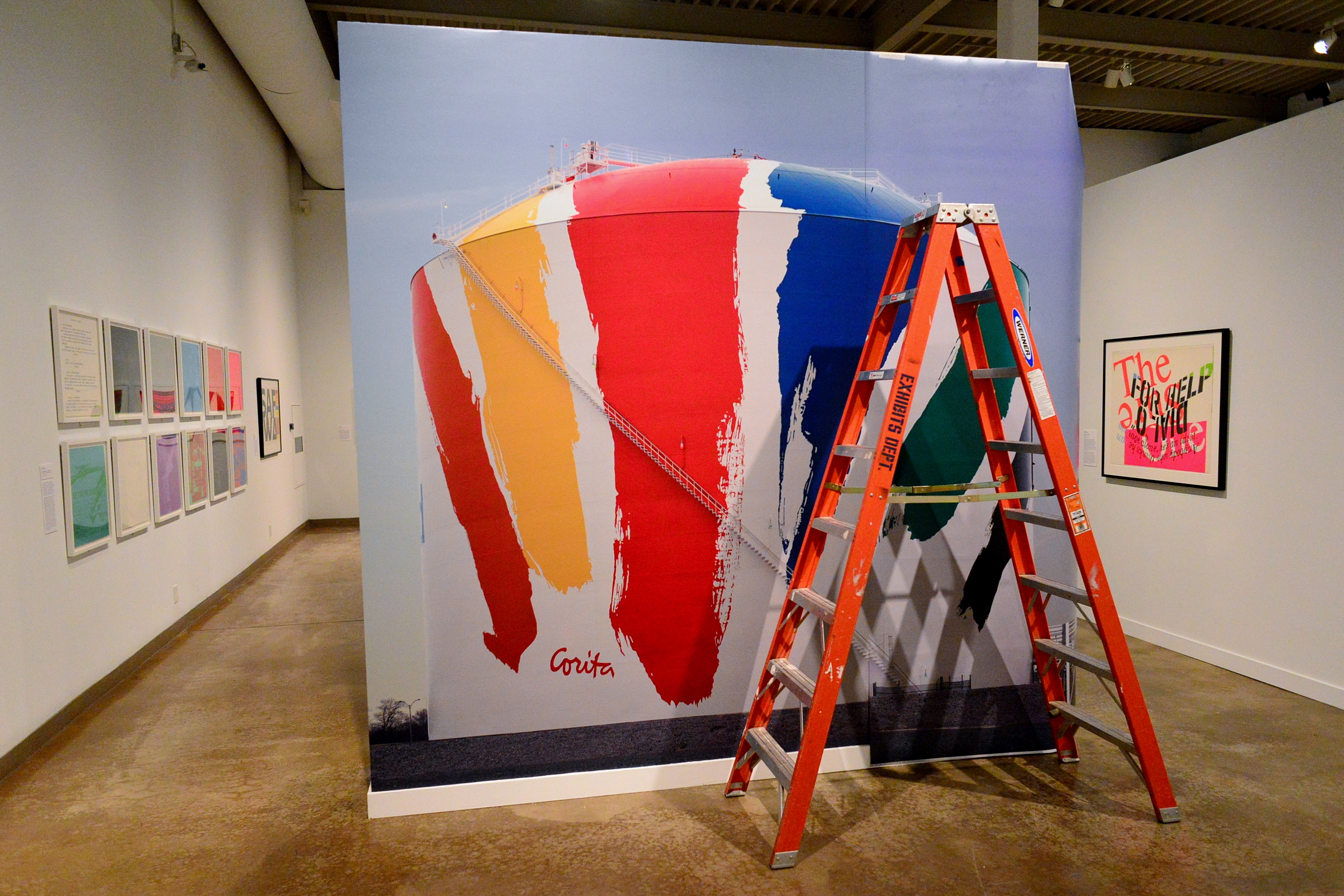 """Boston Gas Tank (Rainbow Tank) by Corita Kent. In 1971 this public artwork was met with controversy. However, when the receptacle was replaced in the early '90s the design was repainted due to """"overwhelming requests for its return."""""""