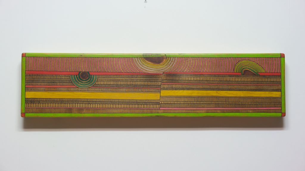 Danville Chadbourne, Geometric Visions – Fracture, ink and acrylic on wood.
