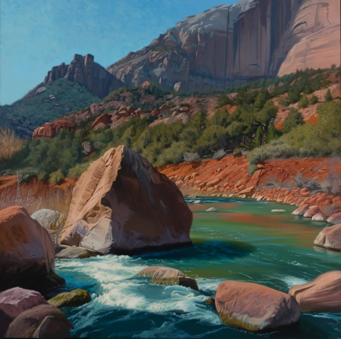 Dennis Farris, Virgin River Rock, oil on canvas.