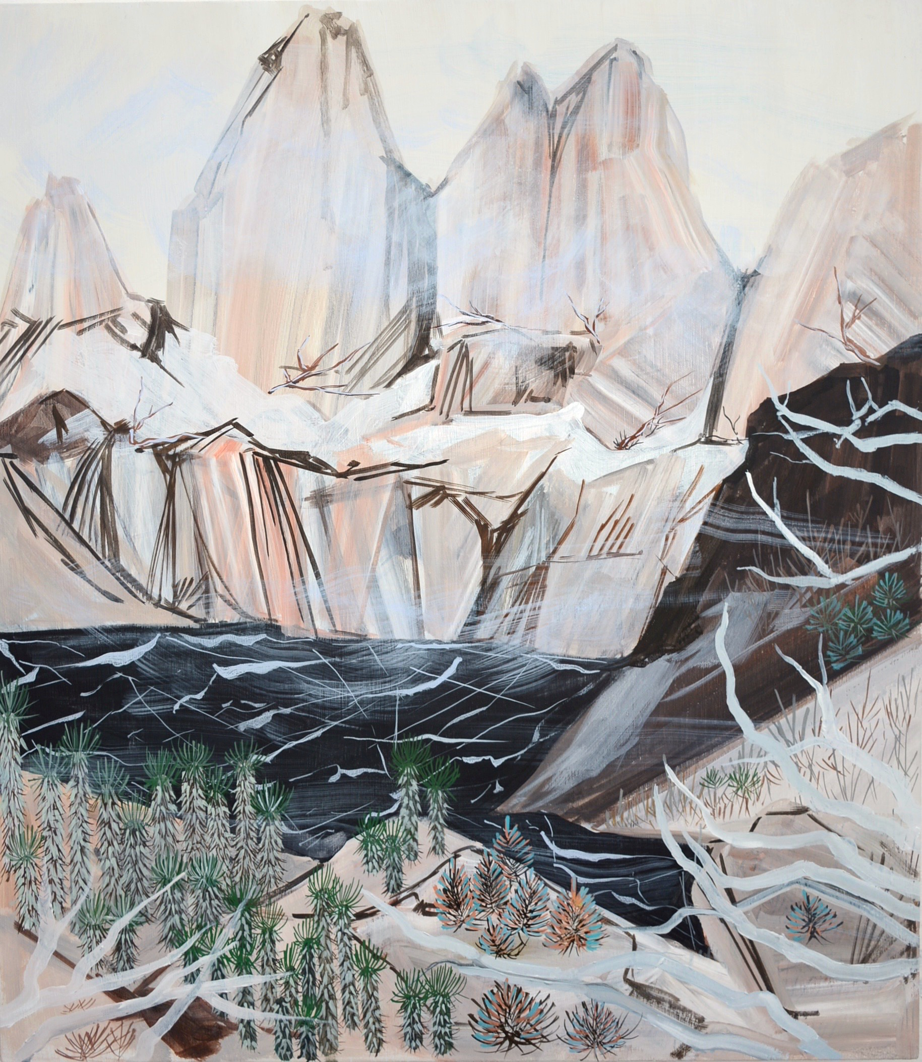 Erika Duque, Black Lake Mountain, acrylic pigment on wood panel.