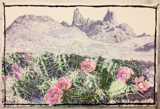 Jim Malone, Flowers of Love Spring from the Thornes of Life, marker pens, spray paint on paper.